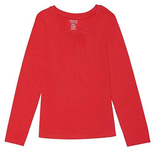 French Toast Girls'  Long Sleeve Crewneck Tee Shirt, Red, L (10/12),Big Girls