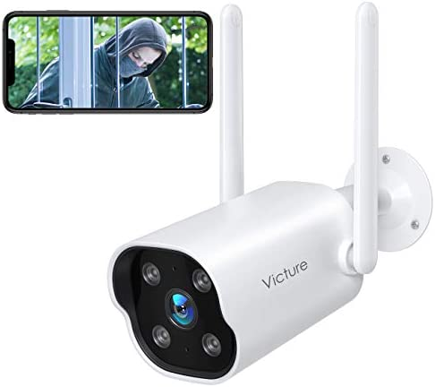 Security Camera Outdoor,Victure 1080P WiFi Home Smart Security Weatherproof Dual Antenna Camera with Night Vision,Motion&Sound Detection,2-Way Audio Camera Compatible with Alexa
