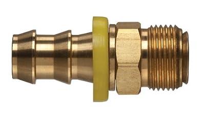 "Kuriyama POFMIV-0405 Brass Push-On Hose Fitting, Inverted Flare, Barbed, 1/2""-20 UNF Male x 1/4"" Hose ID"
