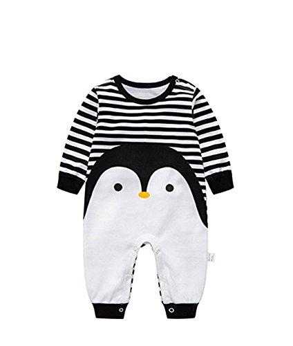 Quavey Baby Romper Long Sleeve Boys Girls Stripe Penguin One-Piece Jumpsuit