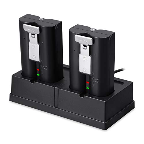 Charging Station and 2-Pack Rechargeable Batteries Bundle Compatible with The Ring Spotlight Cam Battery, Ring Video Doorbell 2, and Ring Stick Up Cam Battery HD – Zero Downtime for Your Ring Device