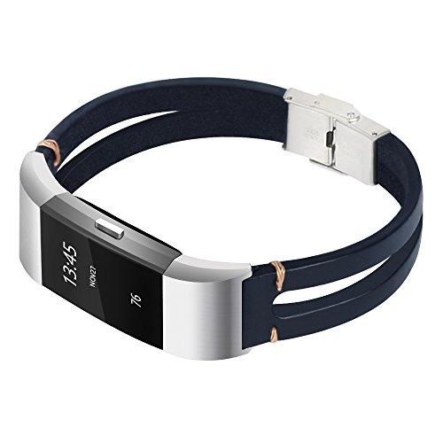 somoder For Fitbit Charge 2 Bands, Handmade Vintage Fashion Alloy Leather Bracelet for Fitbit Charge 2, Adjustable Size 5.5 - 8.5