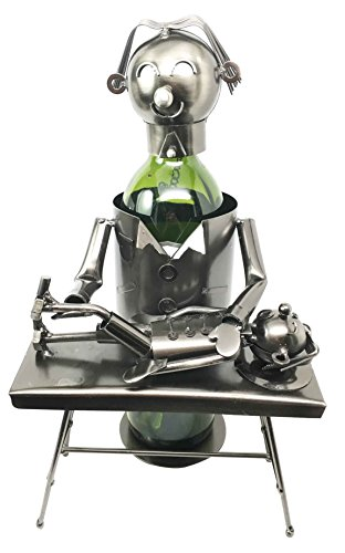 (Physician Chiropractor With Child Patient Hand Made Steel Metal Wine Bottle Holder Caddy)