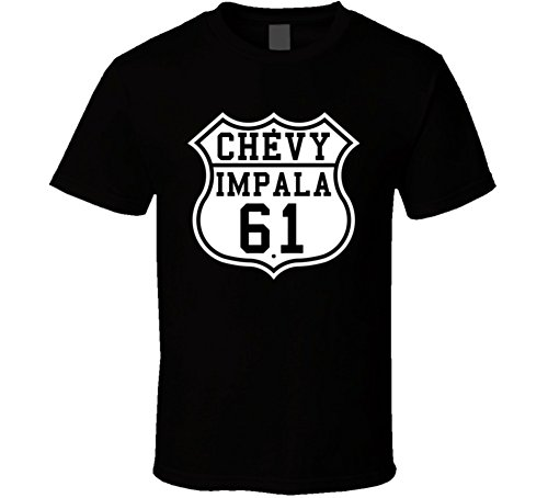 Highway Route 1961 Chevrolet Impala Classic Car T Shirt XL Black (1964 Chevy Impala Ss Lowrider For Sale)
