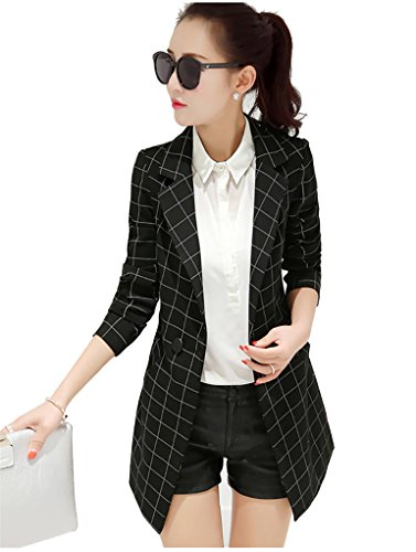 My Wonderful World Women's Juniors Women's Vintage Check Plaid Long Sleeve Casual Long Jacket Black Blazer US (Two Button Vintage Coat)
