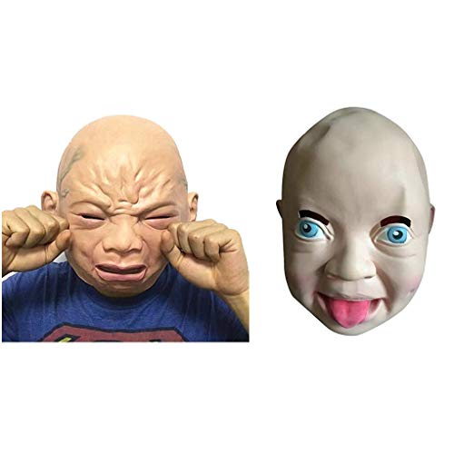 Party Masks - Funy Cry Smile Baby Full Head Face Latex Mask Scary Costume Halloween Creepy Joking Props - Adult Movie Scary Mask Clown Latex Party Masks Mask Plastic Horror Baby Latex Hallo -