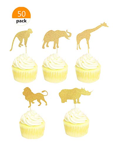 Jungle Animal Cupcakes - Lauren 50 pcs Prairie Animals Decorative Muffin Cupcake Toppers Party Decorating Tools Gold