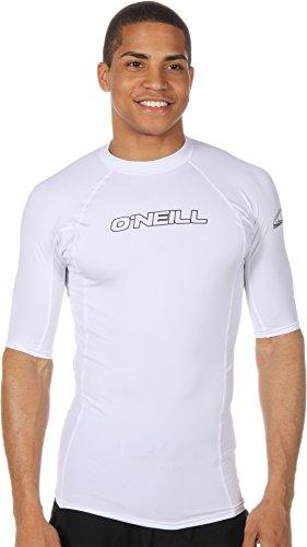 O'Neill Wetsuits Men's Basic Skins UPF 50+ Short Sleeve Rash Guard, White, - Men Wetsuits