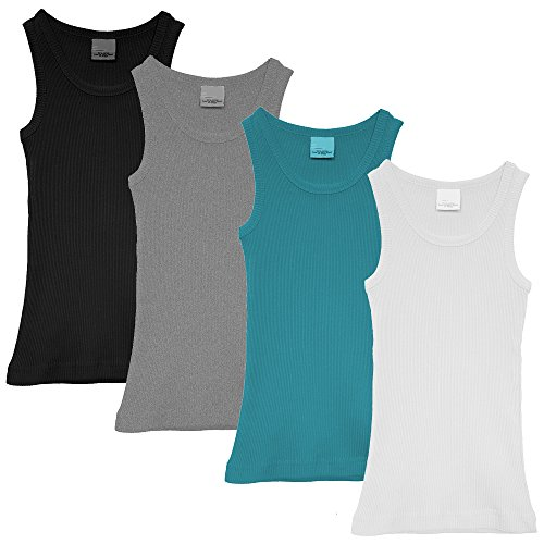 Popular Little Girl's Cotton Classic Ribbed Tank Top - 4 pack - Black, Grey, White, and Blue - 4