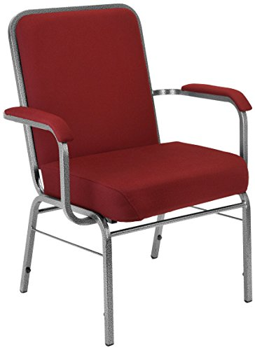 Class Stack Silver Vein Frame - OFM Big and Tall Comfort Class Series Fabric Arm Chair, Wine