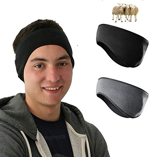 CUPID Fleece Ear Warmers Headband for Men & Women (2 Pack), Thermal Polar Ear Muffs Warmers Keep You Warm and Cozy for Daily Wear, Sports, Running, Skiing and More