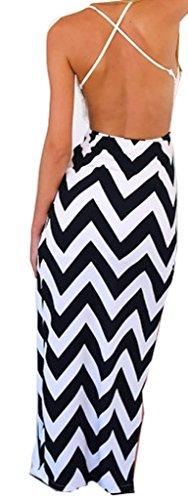 Meihuida Women Slim V-Neck Irregular Split Open Leg Stretch Long Maxi Dress S