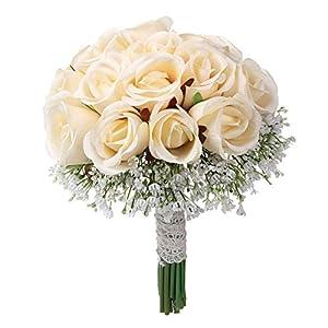 MARJON FlowersWedding Bridal Bouquet 22PCS Rose Flower Beige Artificial Fake Holding Flowers with Gypsophila for Bridesmaid Decor Photo Shooting 95