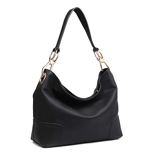 Dasein Women's Classic Faux Leather Hobo Purse Shoulder Bag Tote Handbag (7676- Black)