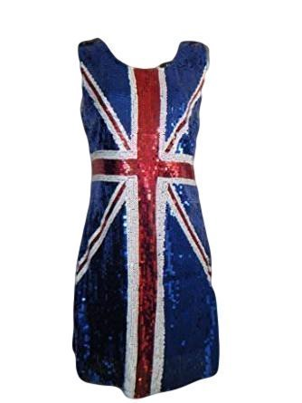 Rule Britannia Sexy Sequinned Blue Thick Strapped Union Jack ...