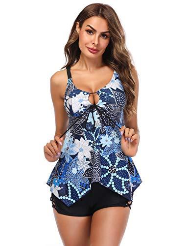LAZOSAL Womens Two Piece Front Tie Swimsuit Cross Back Flowy Tankini Tummy Control ()