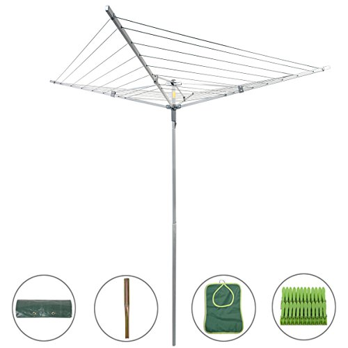 Drynatural Collapsible 4-arm Rotary Outdoor Umbrella Drying Rack Clothes Dryer Clothesline with 131ft Drying Space
