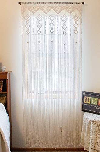 Macrame Crochet Curtain-Bohemian Boho Decoration-Wall Tapestry-Party Accent-Moroccan Backdrop-Weddings Parties-Hanging Divider-Kitchen, Nursery, Room Decor-Fringe-100 Handmade Woven 35 Wx80 L White