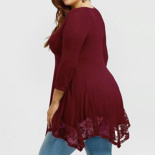 Tops Dentelle Longues Grande Femmes Longues Manches Chemise Taille Chemises Rouge Chemisier Bringbring Longue Chemise ESwq1T