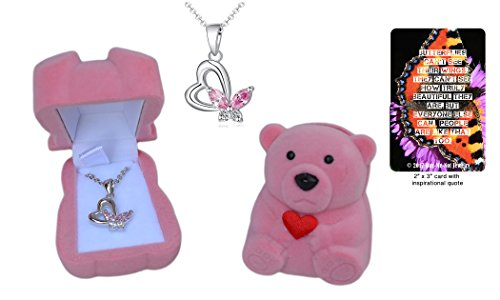 Girl's .925 Sterling Silver Heart Necklace with Pink and White Butterfly Pendant Gift Set in Pink Bear Jewelry Box with Quote Card