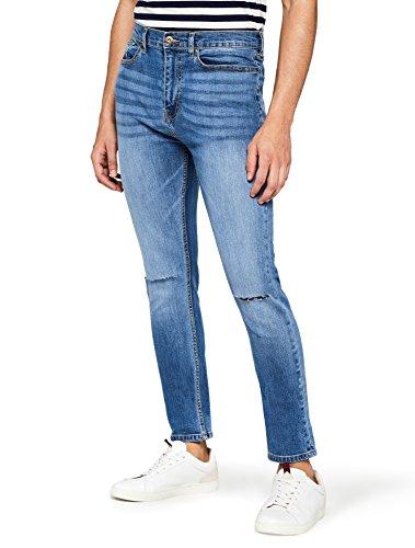 Jeans Wash Sulle Uomo Tagli vintage Slim Ginocchia Con Blu Find 7xzwdqz