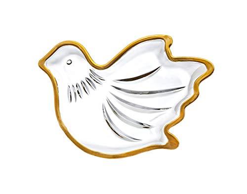 Godinger Dove Bird Candy Dish, Holiday Tray - Gold Trim