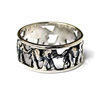 Lucky Cute 925 Sterling Silver Elephant Ring Family Migration Band Ring Buddhist Yoga Hippie Jewelry
