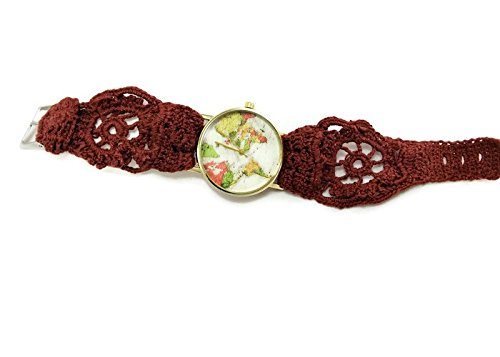 [Ladies unique brown world map wrist watch / Hand embroidered crochet vintage bracelet /Mother-in-law] (Homemade Costumes Teenage Girls)