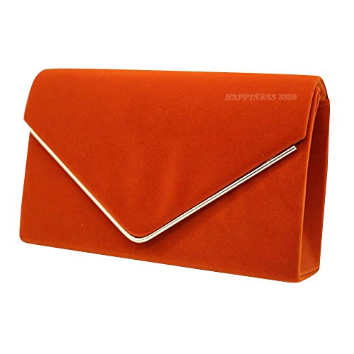 Ladies Lavish Wocharm Clutch Envelope Evening Gold Trim Prom Velvet Party Girly Orange Wedding Suede Faux Women Bags Designer HandBags Fgrngw7x