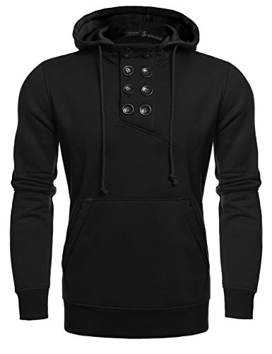 COOFANDY Mens Casual Buttons Pullover Hoodie Sweatshirt (Large, (Black Double Breasted Sweater)