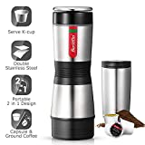 Portable Coffee Maker - Single Serve Coffee Maker Brew Tasting Coffee with Ground Coffee and Capsule, Compact Size for Outdoor Activities - Double Stainless Steel Body with 12 oz Mug, Effortless