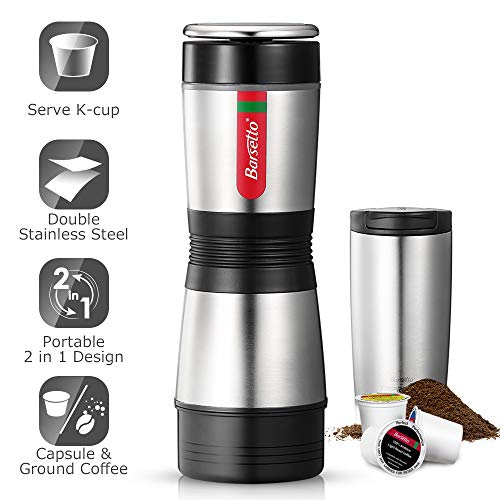 Portable Coffee Maker – Single Serve Coffee Maker Brew Tasting Coffee with Ground Coffee and Capsule, Compact Size for Outdoor Activities – Double Stainless Steel Body with 12 oz Mug, Effortless
