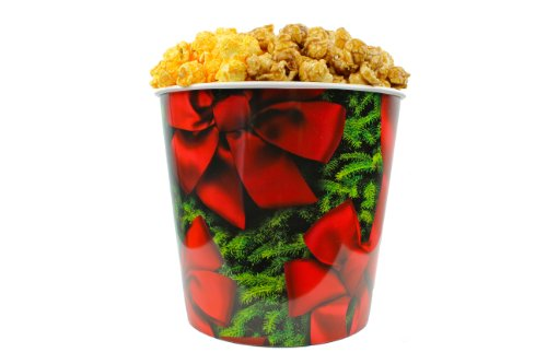 Signature Popcorn, Gourmet Popcorn - 1-Gallon Holidays Red Bow Reusable Plastic Tin, 2 Flavors - Half Caramel and Half Cheddar