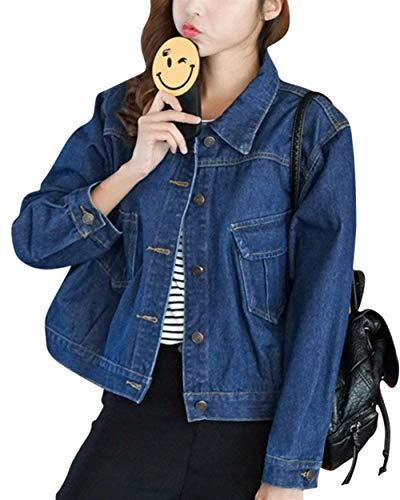 Primaverile Donna Festiva Cappotto Lunga Giacche Tasche Casuali Elegante Vintage Giaccone Fit Button Puro Jeans Slim Corto Moda Outerwear Con Fashion Manica Autunno Bavero Colore Blau Ragazza AwwWzxqnXr
