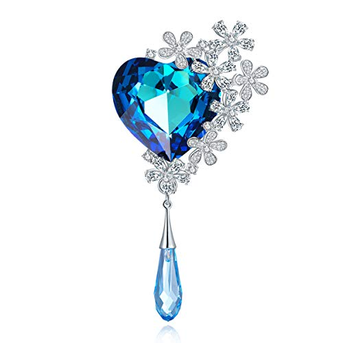 (RAINBOW BOX Brooches for Women Fashion Blue, Heart Rhinestone with Swarovski Crystal Brooch Pins for Valentine Day Birthday Gifts)
