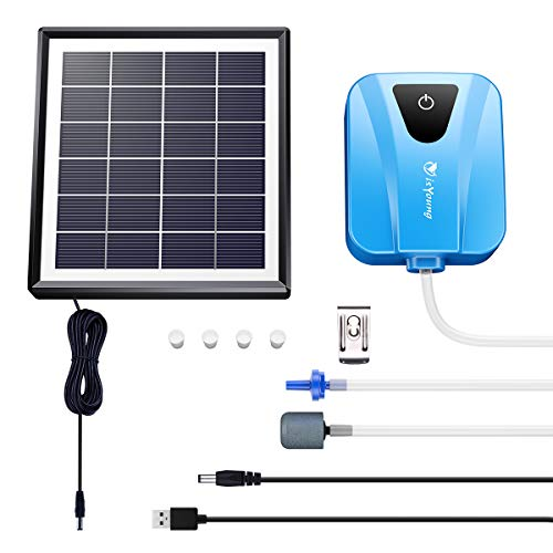 isYoung Solar Air Pump,Rechargeable Air Pump for Fish Pond,Fish Tank,Aquarium, AC/DC Oxygen Pump with Air Stone-Blue