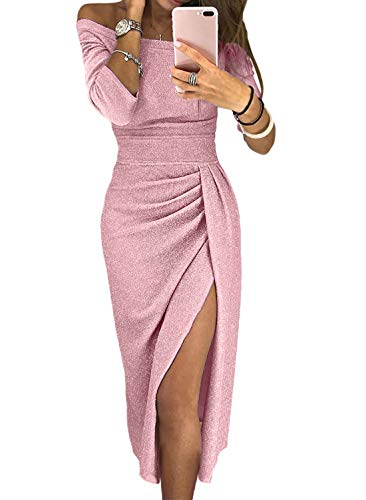 Sexy Off Shoulder Party Midi Sequin Dress for Women Fashion Glitter High Slit Formal Elegant Dresses Cocktail Wedding Evenning Gown Pink L ()