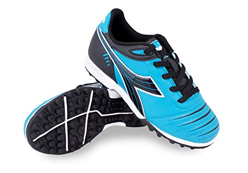 Diadora Kids Cattura TF JR Turf Soccer Shoe (2.5 M US Little Kid, Columbia Blue/Black) (Soccer Turf Outdoor Shoes)