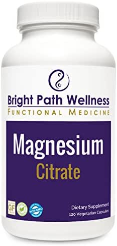 Magnesium Citrate 100mg - 120 Capsules, Non GMO, Gluten Free, Laxative Effect, Cardiovascular Health, Dairy-Free, Egg-Free, cGMP