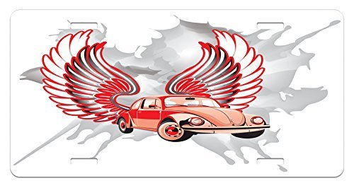 zaeshe3536658 Cars License Plate, Hippie Dated Beetle Car with Wings Once Sixties Freedom and Revolution Icon Boho Print, High Gloss Aluminum Novelty Plate, 6 X 12 Inches. by zaeshe3536658