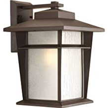 Progress Lighting P6042-20WB 1-Light Wall Lantern with Bulb Etched Seeded Glass Panels