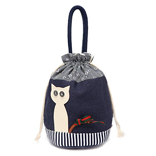 Sports Purse - Cute Leather Animal Canvas Drawstring Totes Handbag Storage Organizer Pouch Navy