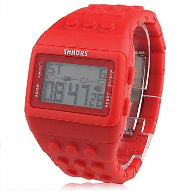 Unisex Bloc dibujo banda reloj de pulsera digital LCD ladrillos (Rojo)