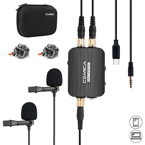 Comica CVM-D03 STC USB C Professional Dual Lavalier Lapel Microphone Omnidirecitonal Dual Lavalier Mic for iPhone Android Smartphone Computer,Recording Mic for YouTube,Interview,Video