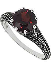 Antique Finish Filigree Sterling Silver Round Cut Natural Mozambique Garnet Ring (2.5 CT.T.W)
