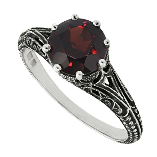 BL Jewelry Antique Finish Filigree Sterling Silver Round Cut Natural Garnet Peridot Ring (2 CT.T.W) (5, Garnet) ()