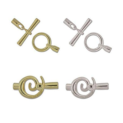 Kumihimo Clasps: Toggle and Swirl Design, Gold and Silver Plate Findings and End Caps, with Instructions ()