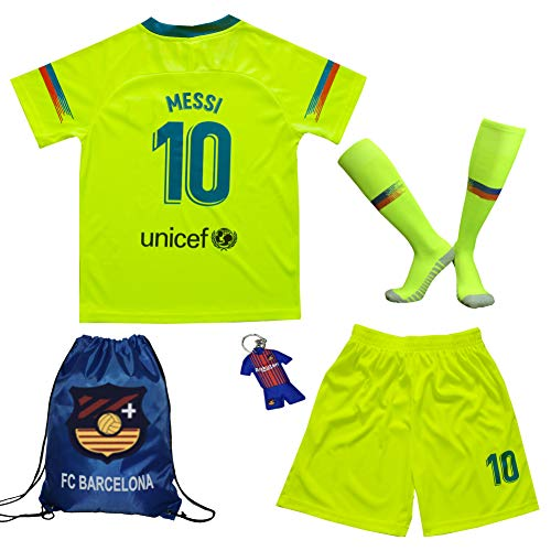 BIRDBOX Youth Sportswear Barcelona Leo Messi 10 Kids Away Soccer Jersey/Shorts Bag Keychain Football Socks Set (12-13 Years) -