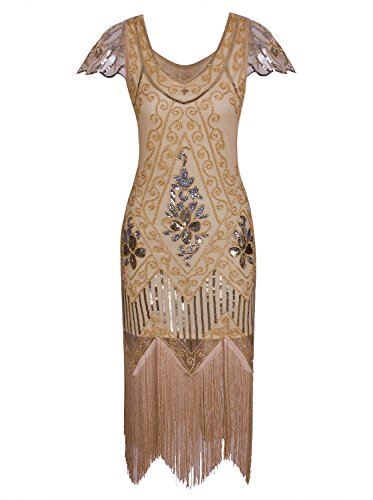 Vijiv Vintage 1920s Gatsby Flapper Dresses With Sleeves V Neck Art Deco Beaded Fringe Cocktail Dress Yellow M ()