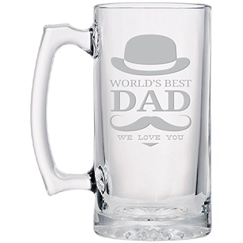 Best Dad Glass Beer Sports Mug, Hand-Engraved Jumbo 26.5 oz (World's Best Dad)